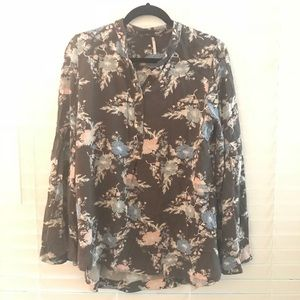 Free people floral tunic blouse size medium